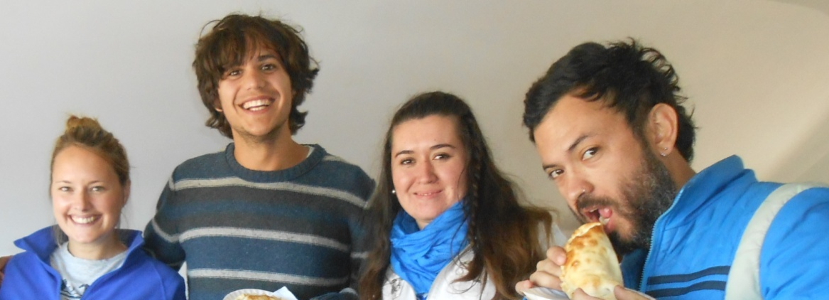 Four students in spanish classes at the Pucon spanish school